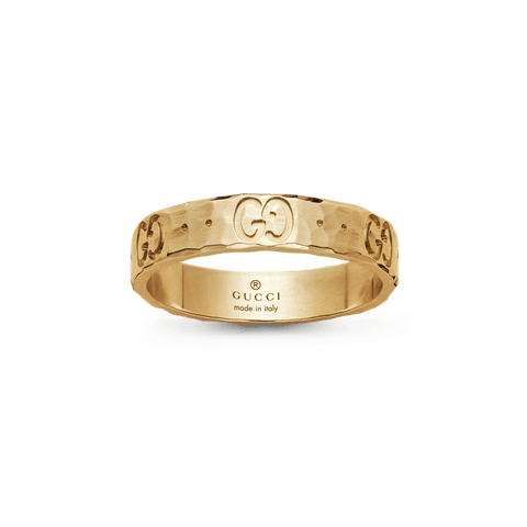 Icon thin band in Hammered Gold