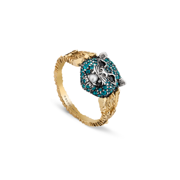 LE-MARCHE'-DES-MERVEILLES-yellow-gold-aged-sterling-silver-paraiba-topaz-pearl-Ring-Gucci-YBC459209002