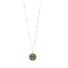 Icon Blooms 18k necklace with blue, black and white enamel