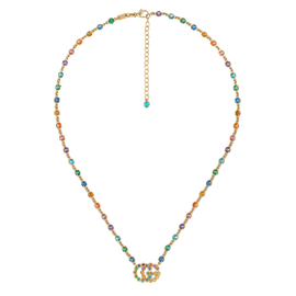 Gucci GG Running Necklace in 18k Yellow Gold with Topaz, Quartz, Tsavorite, and Sapphire