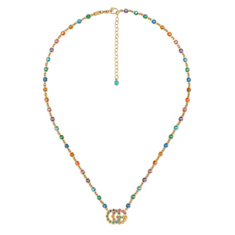 GG Running Necklace 18kt gold and colored stones.