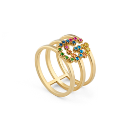 fa7250aa51f GG Running 18kt yellow gold and colored stone stacked ring