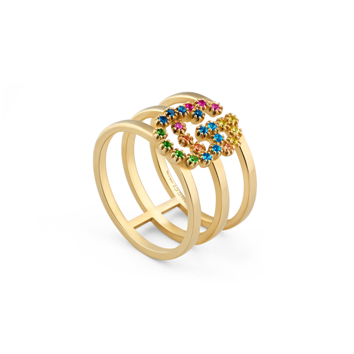 fe5a2f83c GG Running 18kt yellow gold and colored stone stacked ring