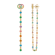 Gucci GG Running Drop Earrings in 18k Yellow Gold with Topaz, Quartz, Tsavorite and Sapphire