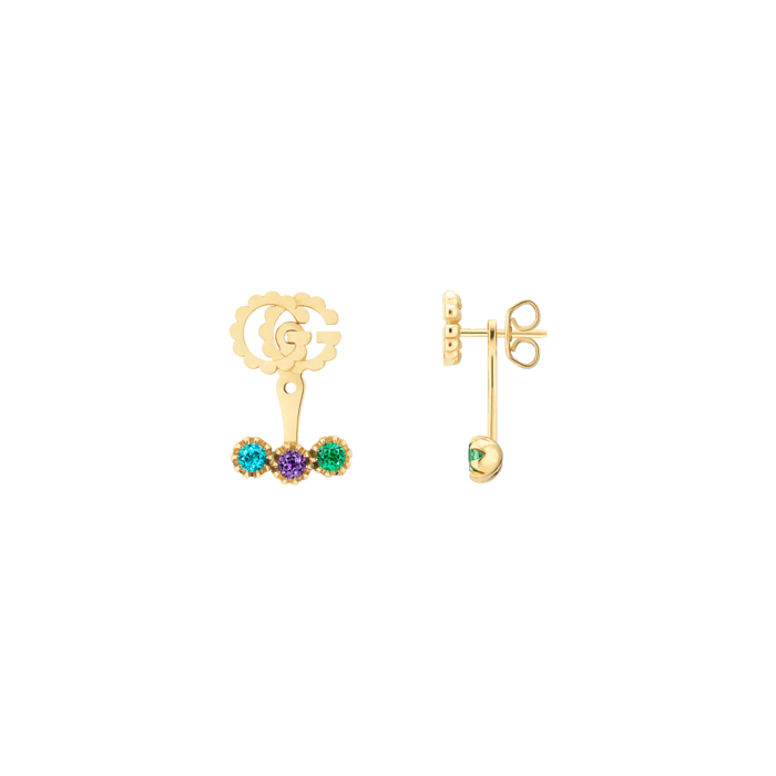 GG Running Earrings in 18k Yellow Gold with Multicoloured Topaz