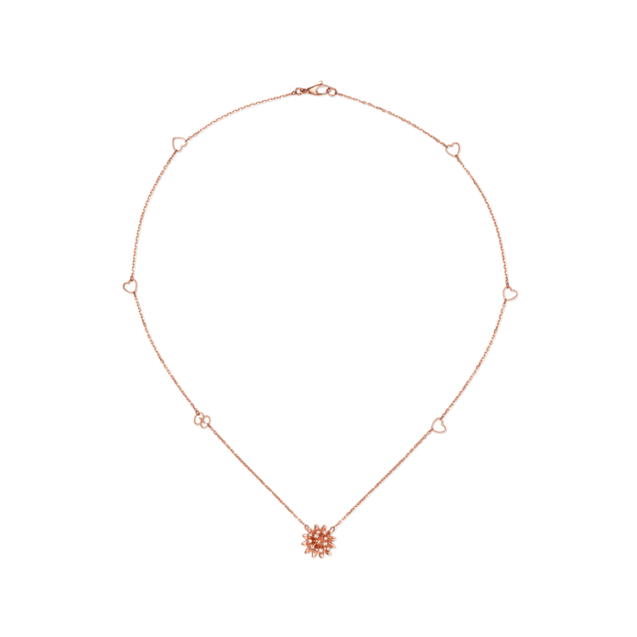 Gucci Flora necklace in pink gold with Diamonds.