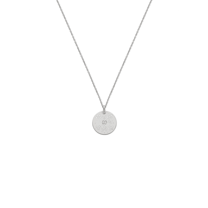 Icon Blooms 18k white Gold and Enamel Necklace