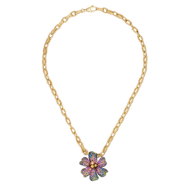 Flora Necklace in 18kt yellow gold, amethyst, tzavorite, blue, yellow and pink sapphire