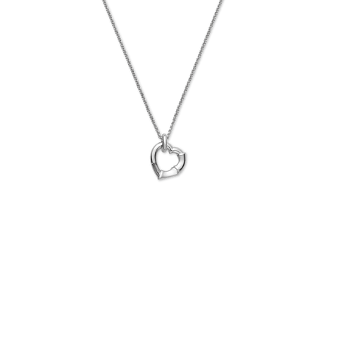 Gucci Silver Bamboo Heart Dangle Necklace