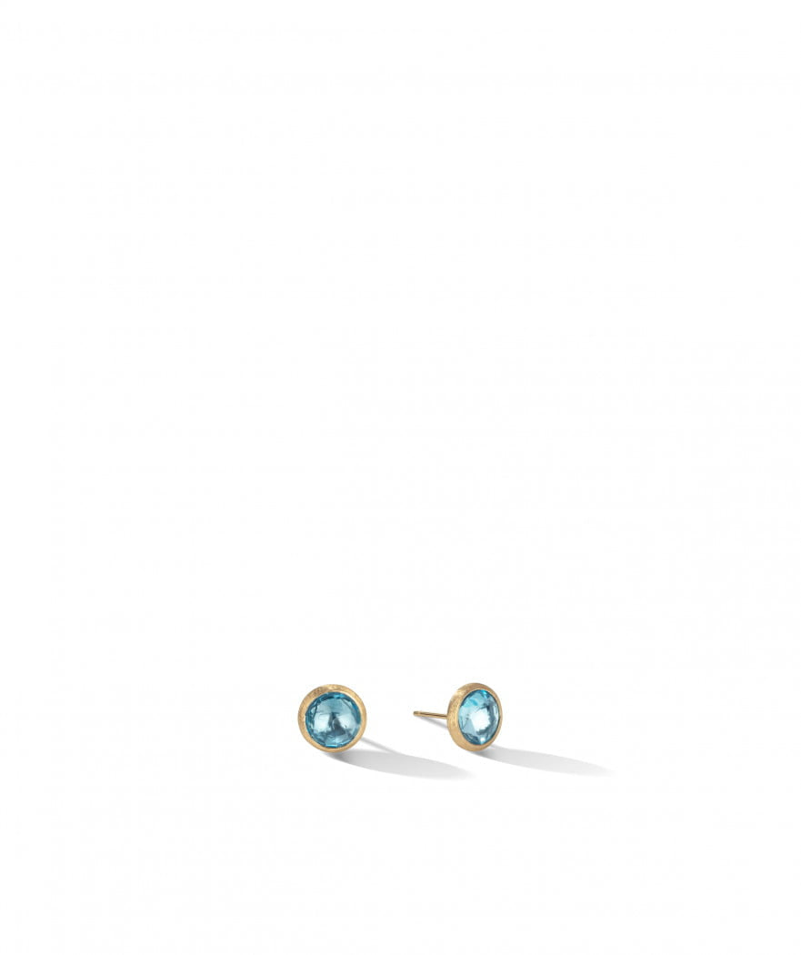 Jaipur Stud Earrings in 18k Yellow Gold with Sky Blue Topaz - Orsini Jewellers NZ