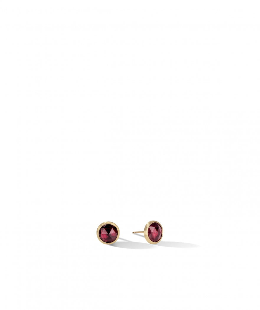 Jaipur Stud Earrings in 18k Yellow Gold with Red Garnet - Orsini Jewellers NZ