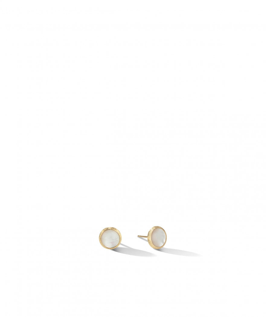 Jaipur Stud Earrings in 18k Yellow Gold with White Mother-of-Pearl - Orsini Jewellers NZ