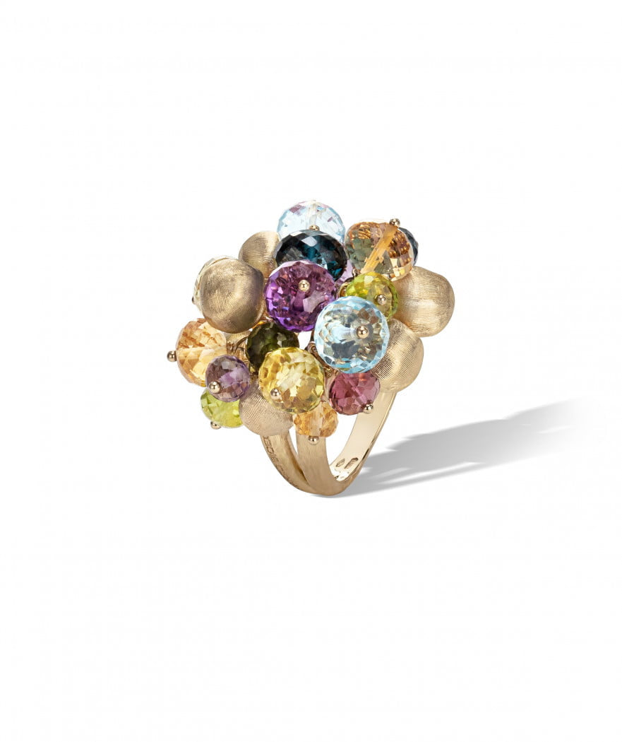 Africa Gemstone Ring in 18k Yellow Gold with Mixed Gemstones Large - Orsini Jewellers NZ