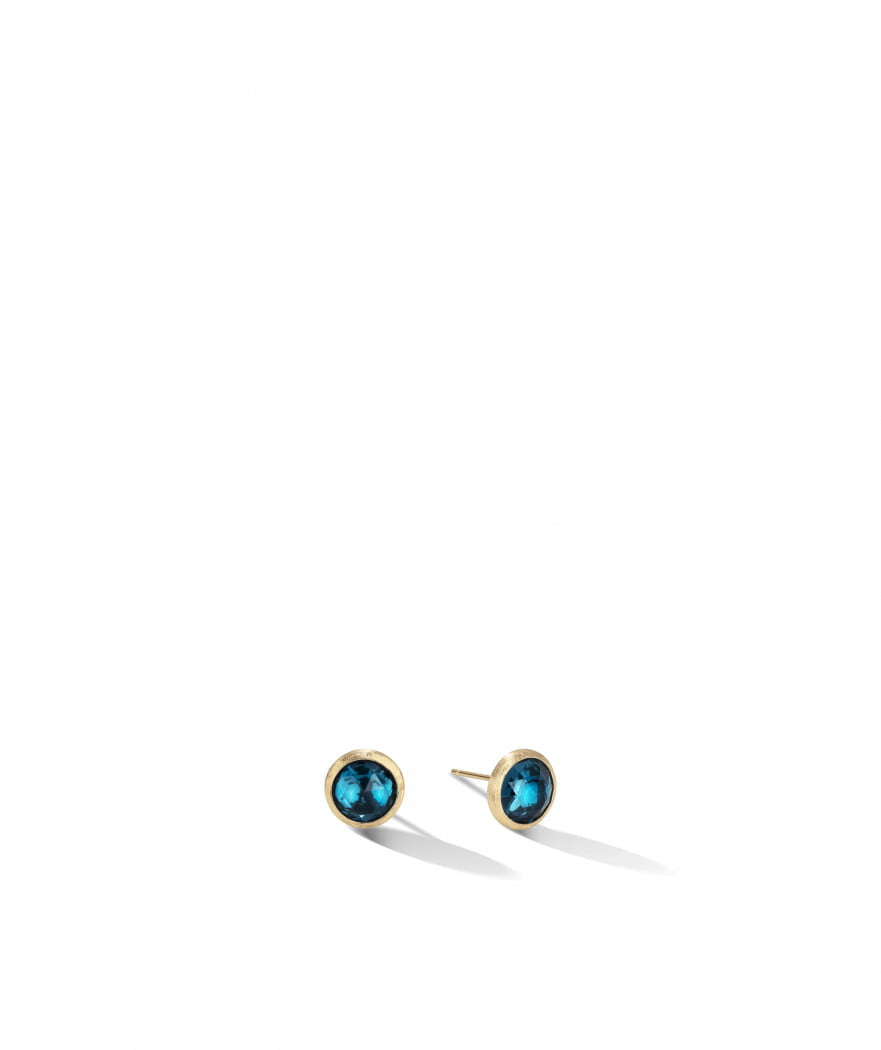 Jaipur Stud Earrings in 18k Yellow Gold with London Blue Topaz - Orsini Jewellers NZ
