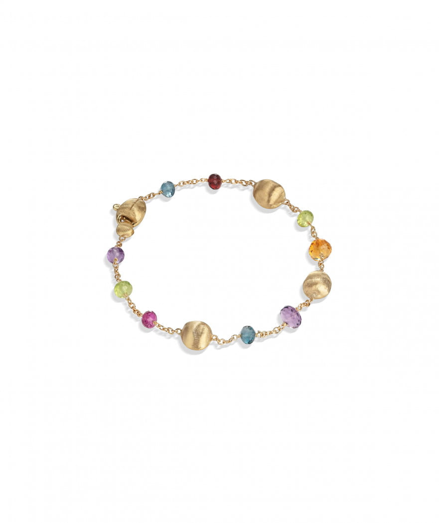 Africa Gemstone Bracelet in 18k Yellow Gold with Mixed Gemstones - Orsini Jewellers NZ
