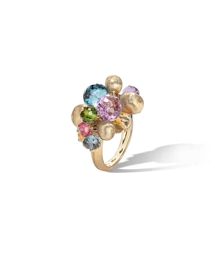 Africa Gemstone Ring in 18k Yellow Gold with Mixed Gemstones Small - Orsini Jewellers NZ