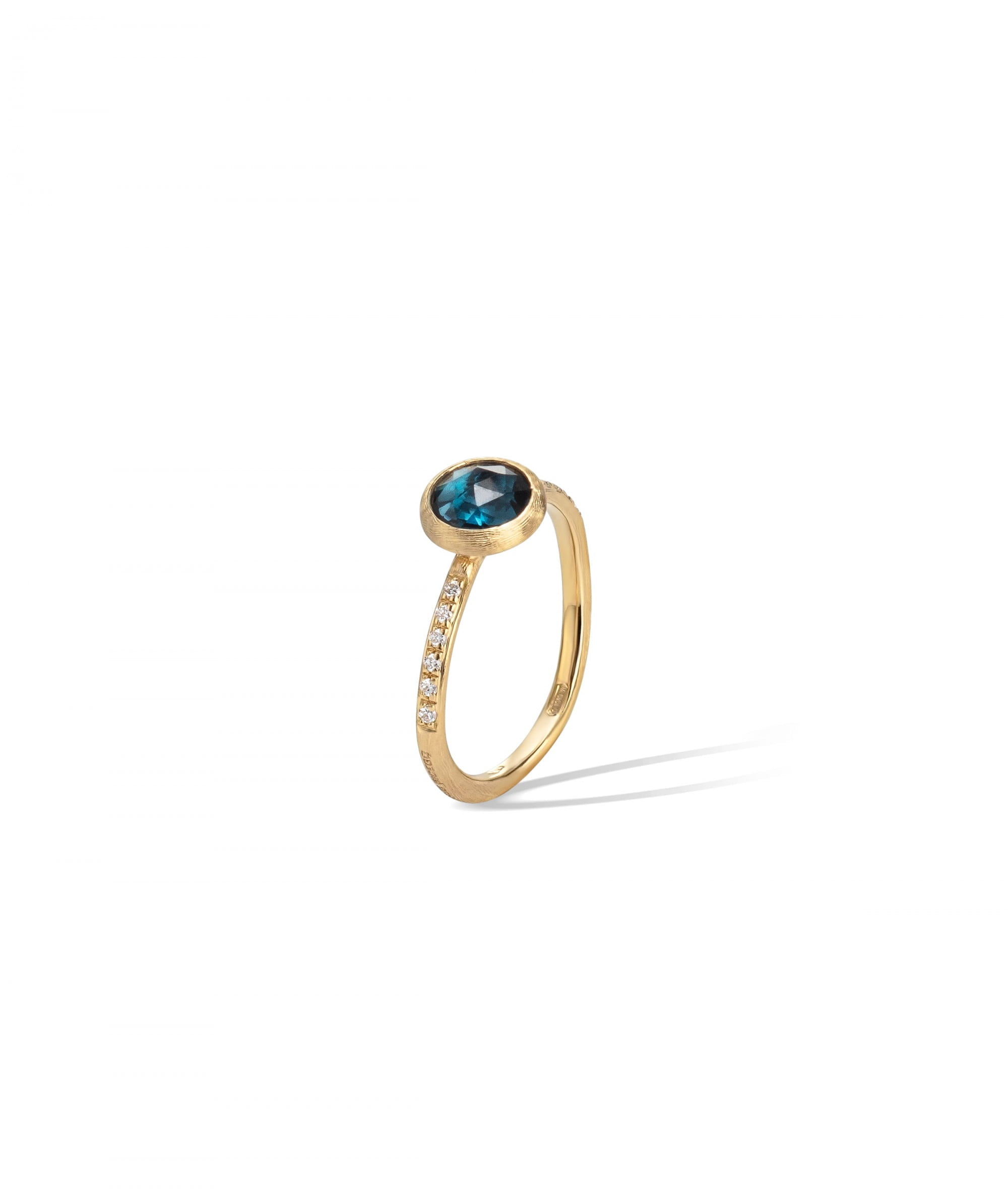 Jaipur Colour Ring in 18k Yellow Gold with London Blue Topaz and Diamonds Mini - Orsini Jewellers NZ