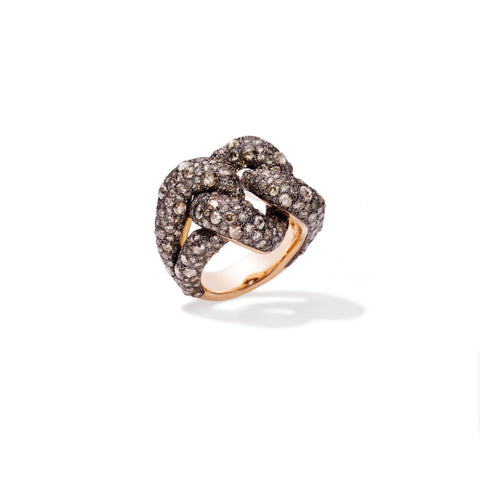 Tango Ring in 18k Rose Gold and Burnished Silver with 392 Brown Diamonds