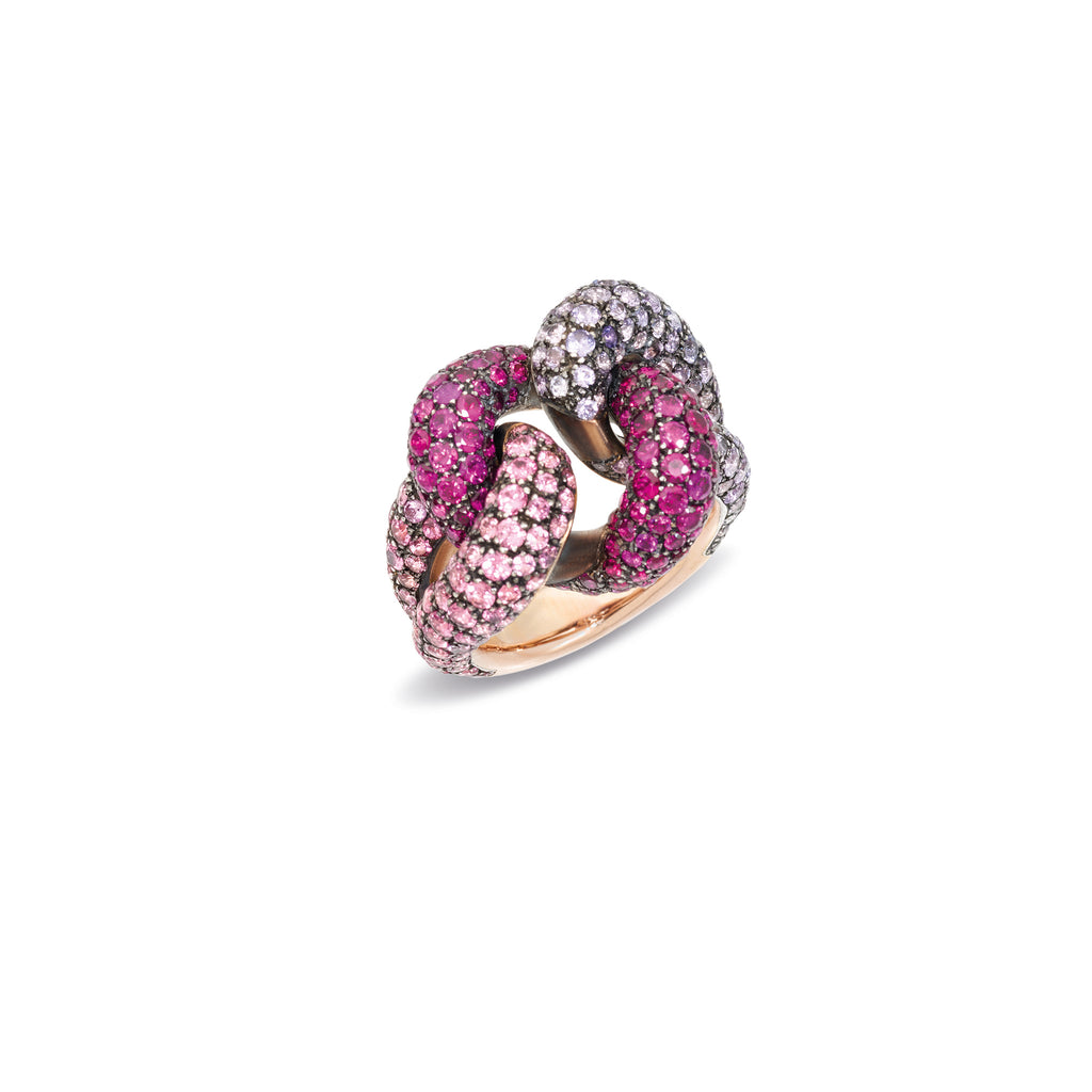 Tango Ring in 18k Rose Gold and Burnished Silver with 318 Purple Sapphires, Pink Spinels and Rubies