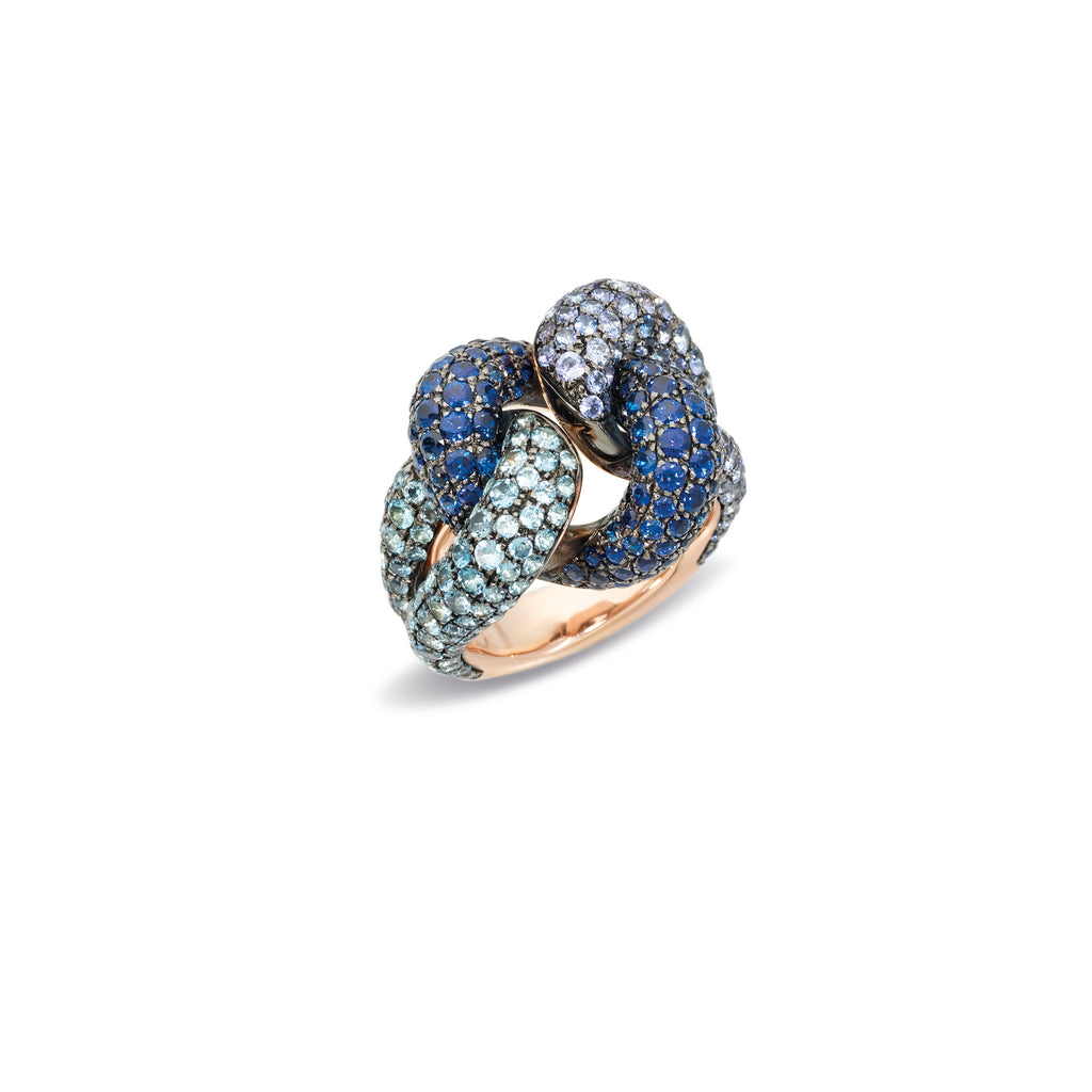 Ring in Rose Gold and Burnished Silver with 318 Aquamarines, Tanzanite and Blue Sapphires