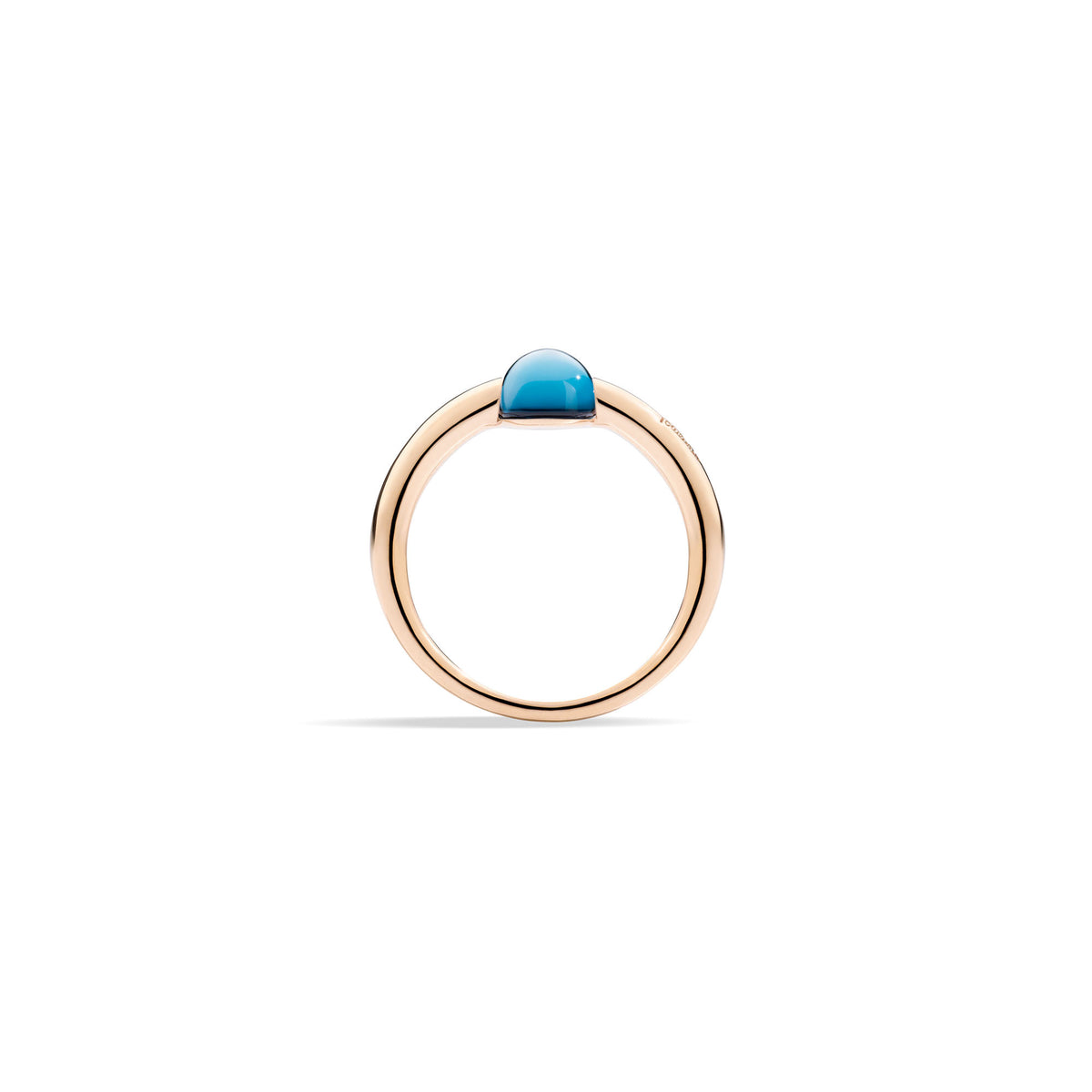 M'ama non M'ama Ring in 18k Rose Gold with London Blue Topaz - Orsini Jewellers NZ