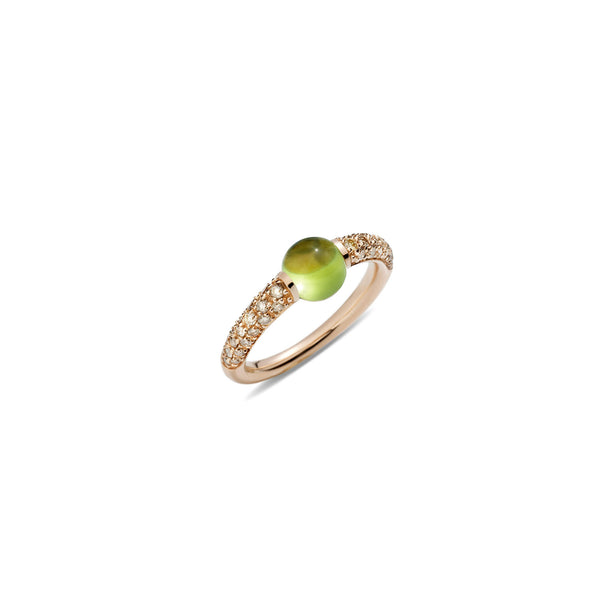 Mama Non Mama Green Peridot Gold Ring with Diamonds