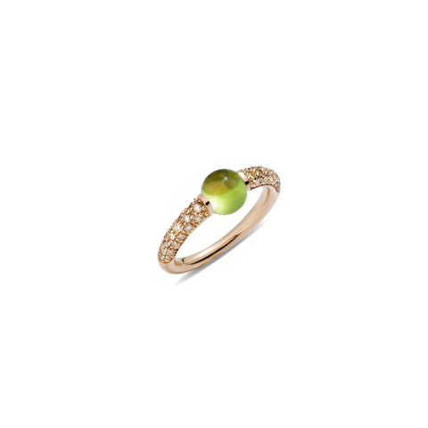Mama Non Mama Green Peridot Gold Ring with Brown Diamonds