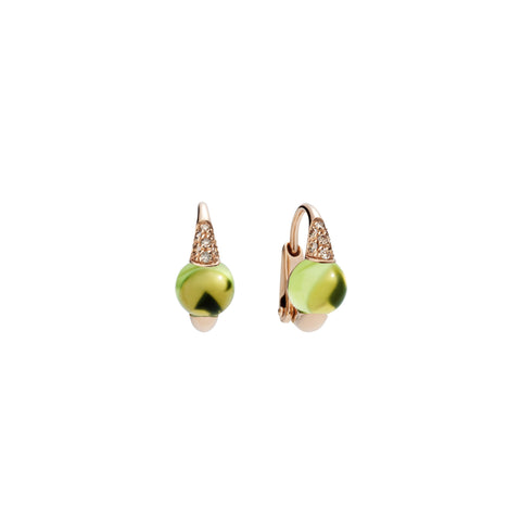 Mama Non Mama Green Peridot Topaz Gold Earrings with Diamonds