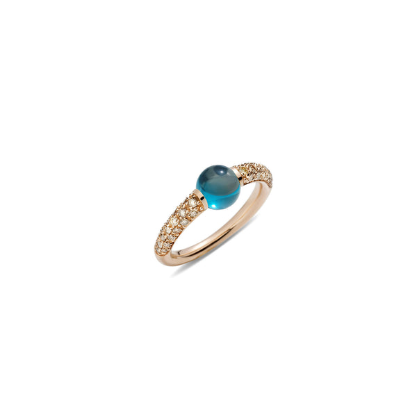 Mama Non Mama London Blue Topaz Gold Ring with Brown Diamonds
