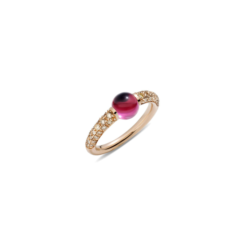 Mama Non Mama Pink Rhodolite Gold Ring with Brown Diamonds