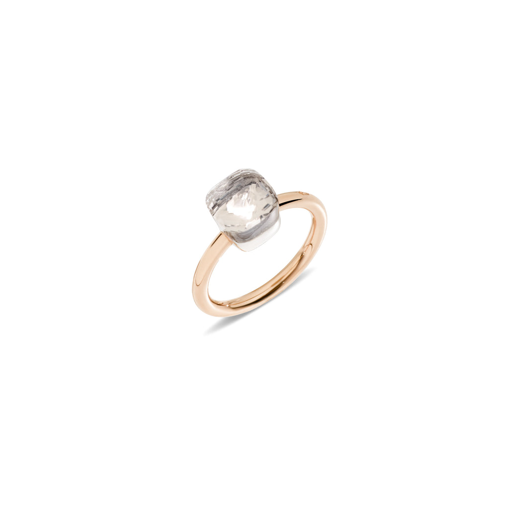 Nudo Rose Gold and White Gold Ring with White Topaz