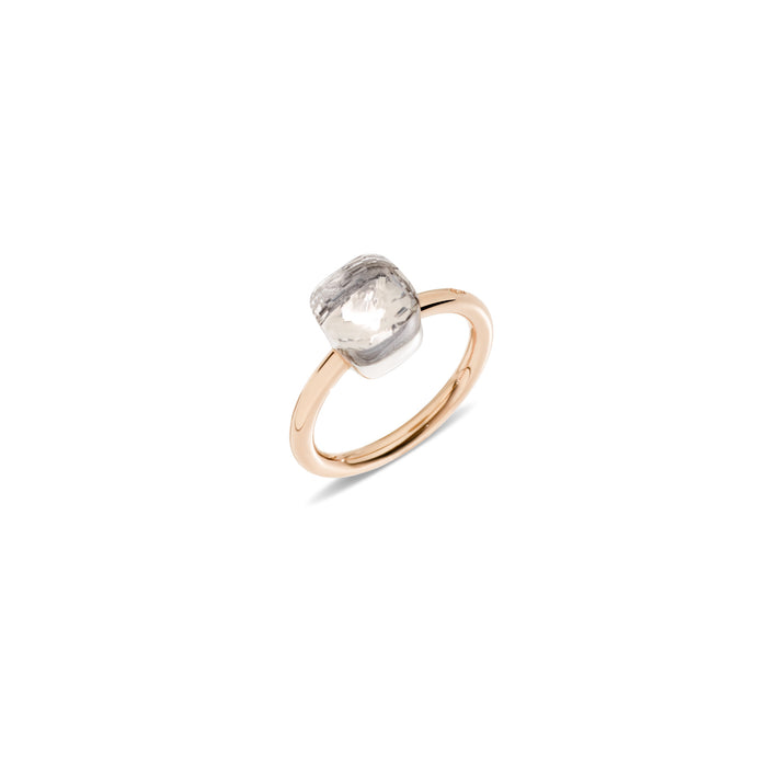 Nudo Petit Ring in 18k Rose Gold and White Gold with White Topaz