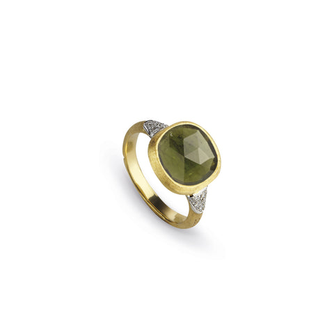 Jaipur 18k Gold Prasiolite Gemstone & Diamond Ring