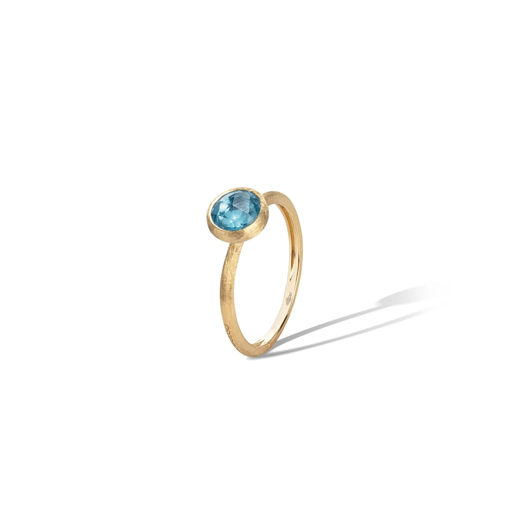 Jaipur Colour Ring in 18k Yellow Gold with Sky Blue Topaz Mini - Orsini Jewellers NZ