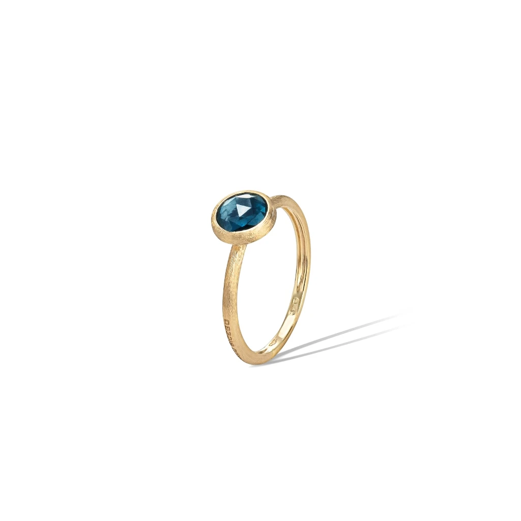 Jaipur Colour Ring in 18k Yellow Gold with London Blue Topaz Mini - Orsini Jewellers NZ