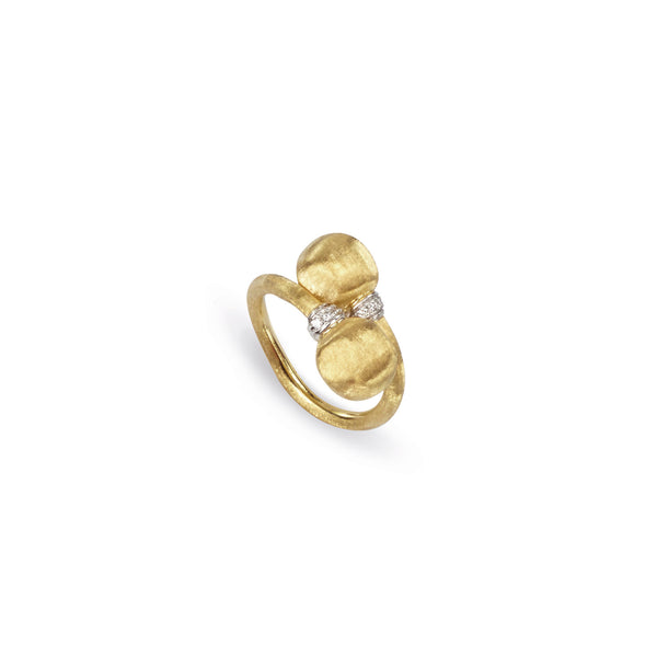 Africa 18k Gold Double Ball 0.06ct Diamond Ring