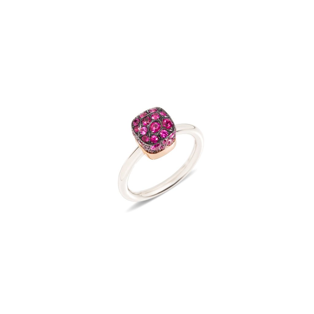 Nudo Solitaire Ring in Polished and Burnished Rose Gold and White Gold with Rubies CT 1.10