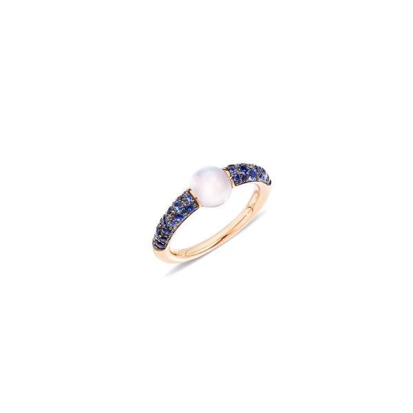 Mama non Mama Moon Stone Ring with Blue Sapphires