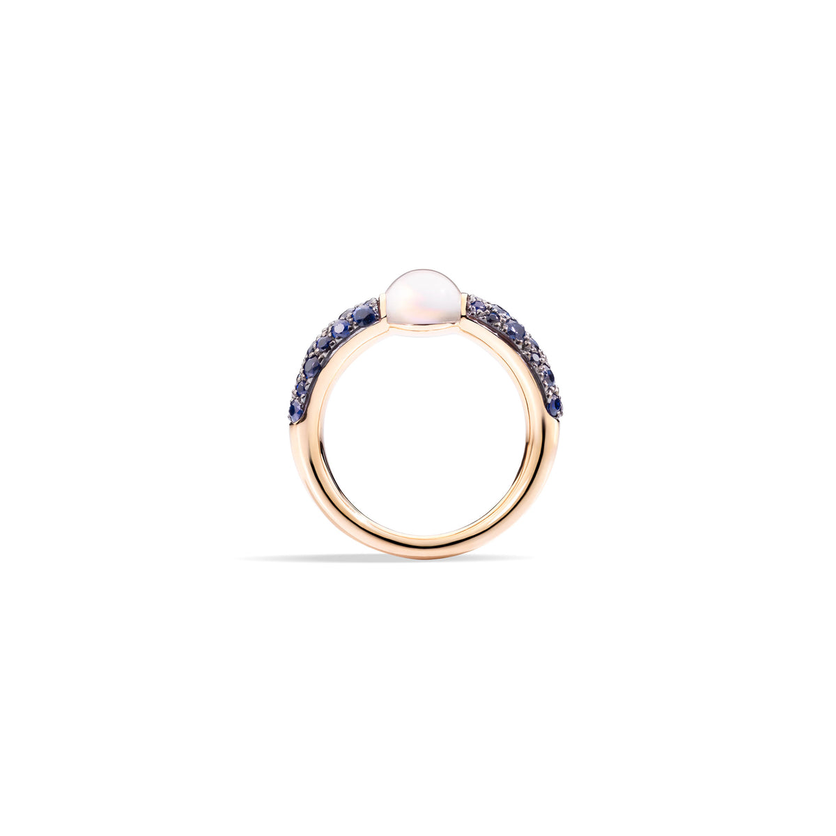 M'ama non M'ama Ring in 18k Rose Gold with Moonstone and Blue Sapphires