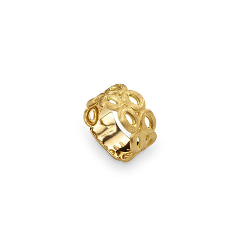 Siviglia Double Strand 12 Circle 18k Gold Ring