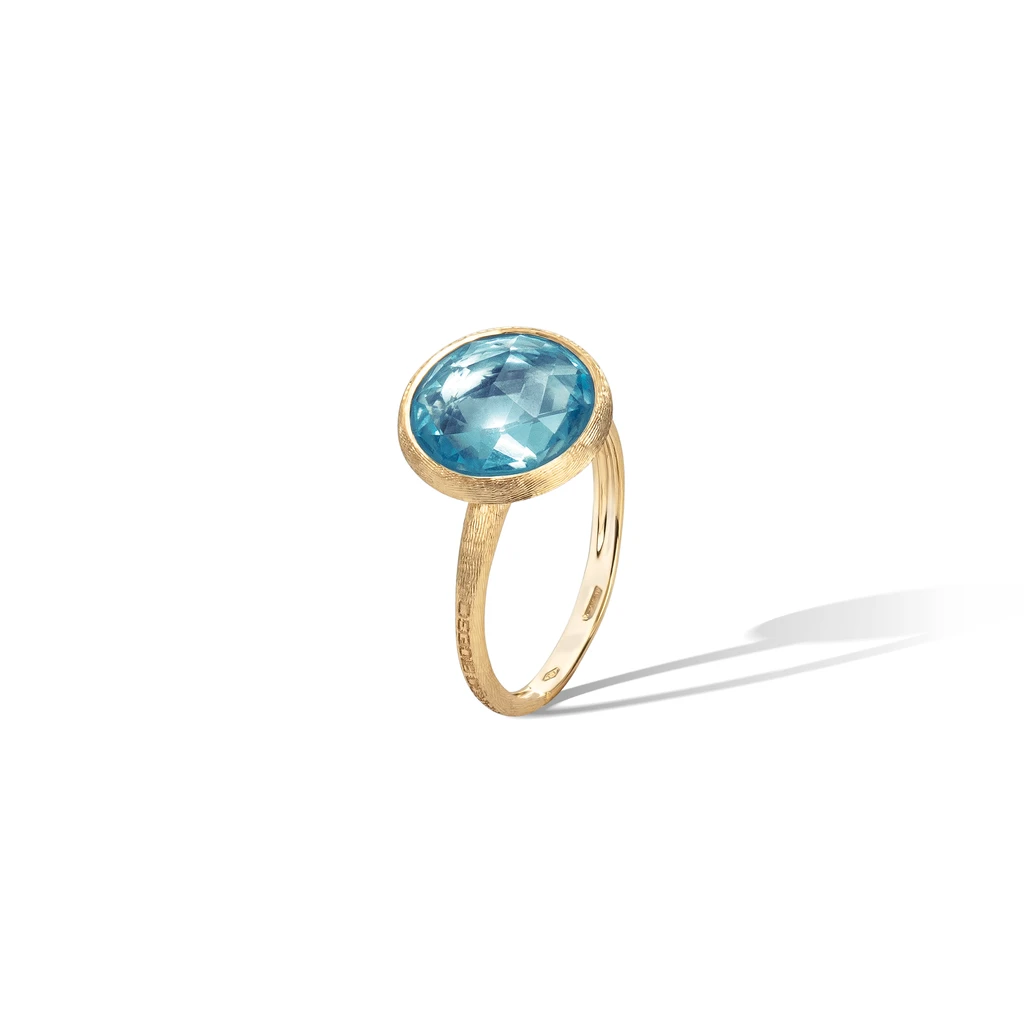 Jaipur Colour Ring in 18k Yellow Gold with Sky Blue Topaz - Orsini Jewellers NZ