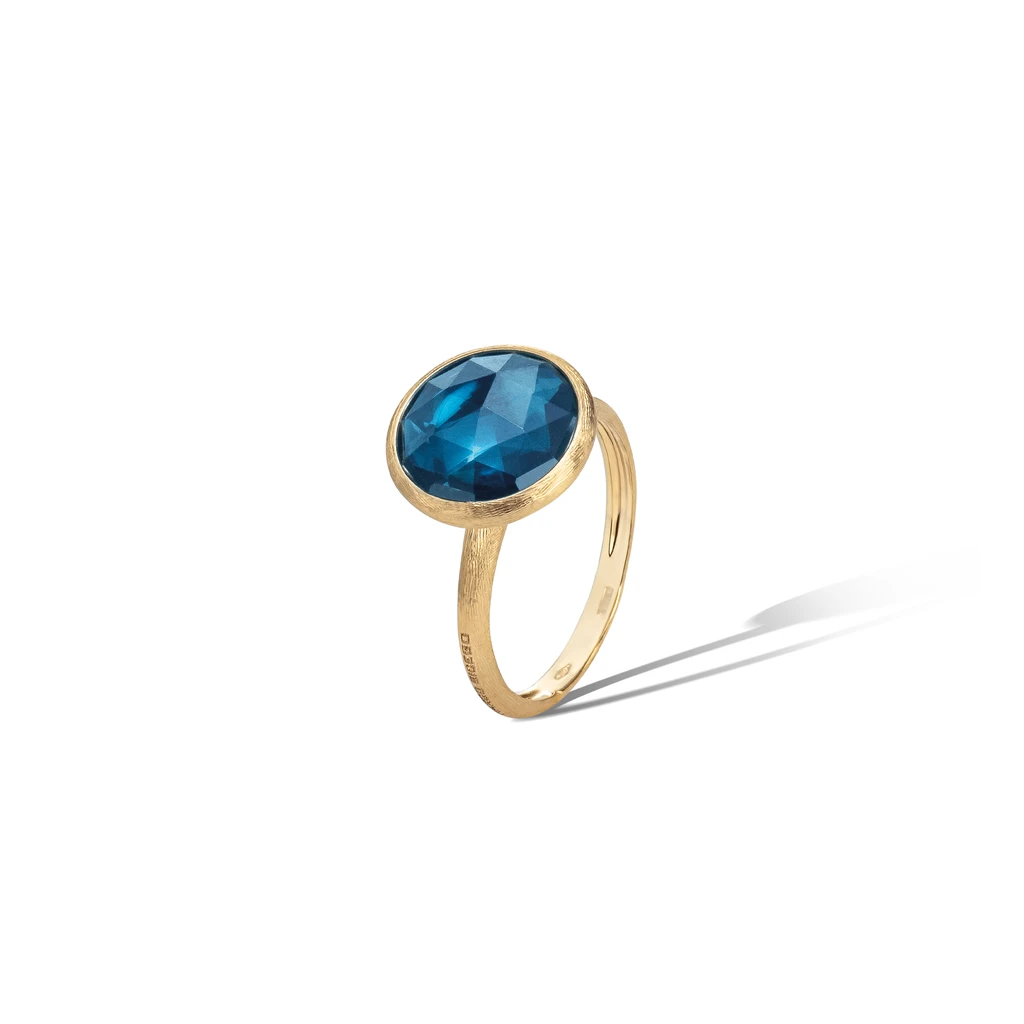 Jaipur Colour Ring in 18k Yellow Gold with London Blue Topaz - Orsini Jewellers NZ
