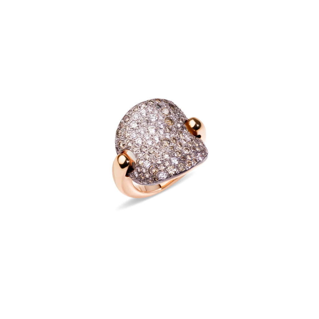 Sabbia Ring in Rhodium-Plated and Burnished Rose Gold, Brown and White Diamonds CT 2.3