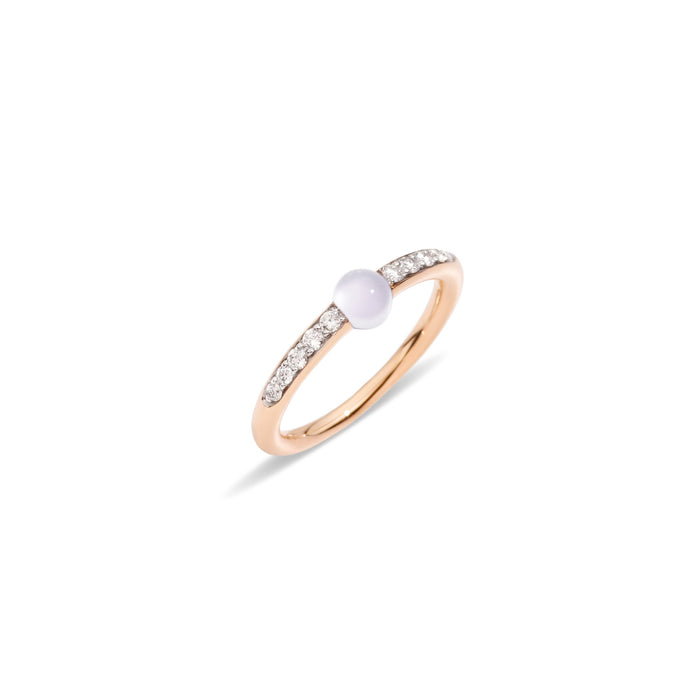 M'ama Non M'ama Ring in 18k Rose Gold with Moon Stone and Diamonds