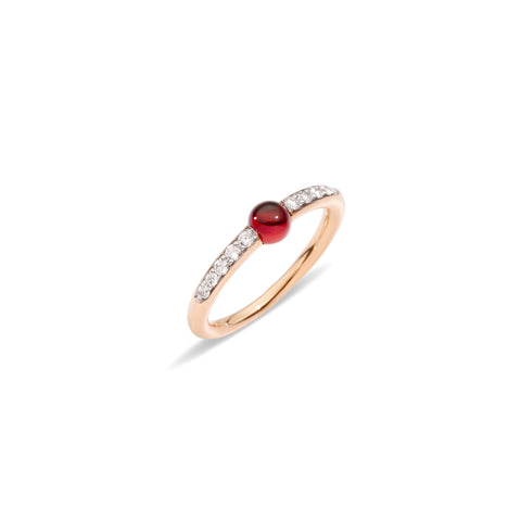 Mama non Mama Gold Garnet Ring with Diamonds