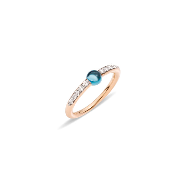 Mama non Mama London Blue Topaz Ring with Diamonds