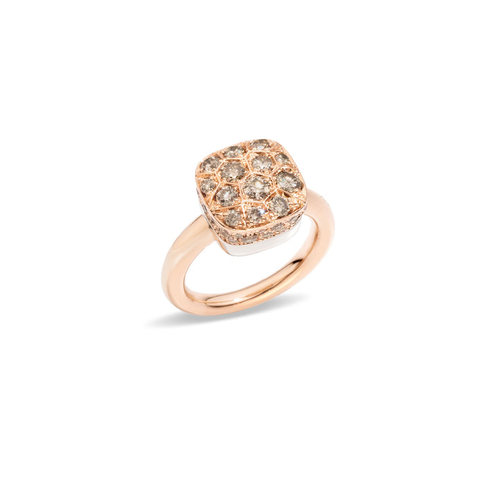 Nudo Maxi Ring in 18k Rose Gold and White Gold with Brown Diamonds