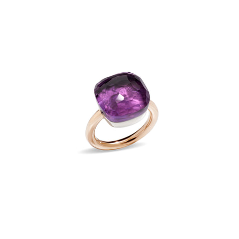Nudo Assoluto Ring in Rose Gold and White Gold with Amethyst
