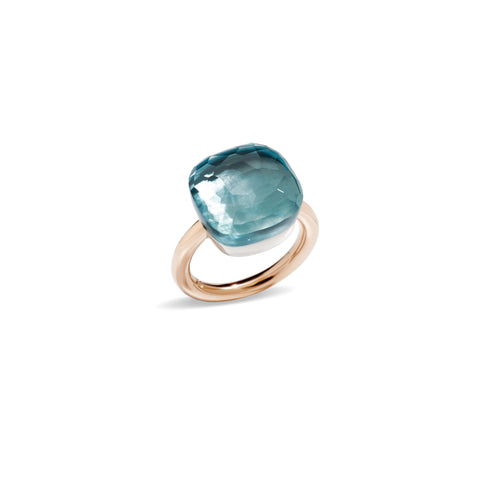 Nudo Assoluto Ring in Rose Gold and White Gold with Blue Topaz