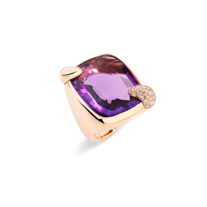Ritratto Ring in Rose Gold with Amethyst and Diamonds